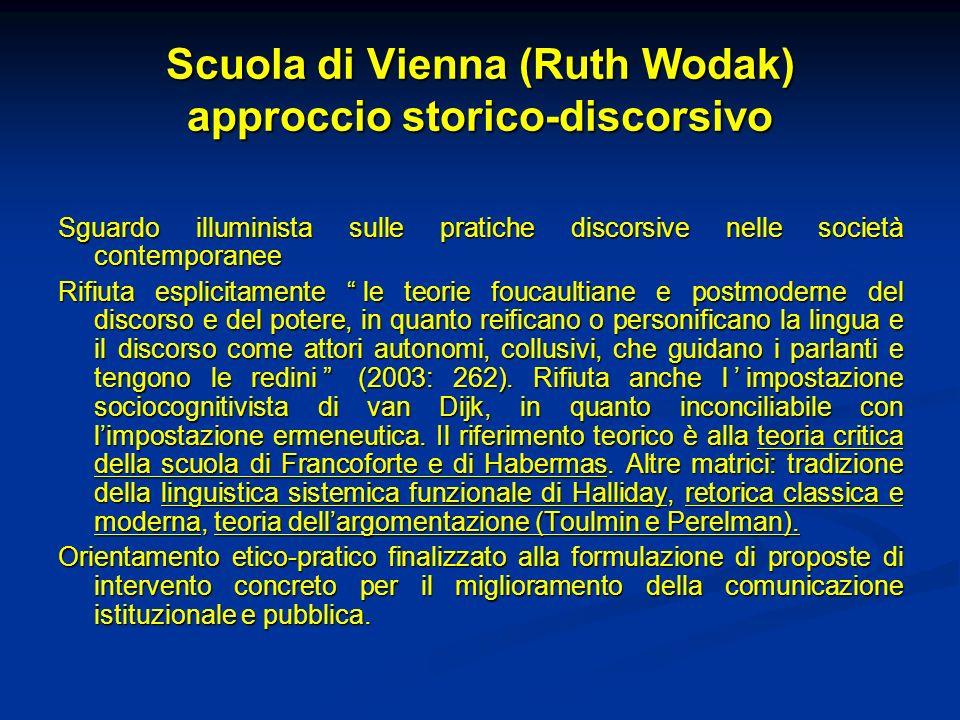 Scuola di Vienna (Ruth Wodak) approccio storico-discorsivo