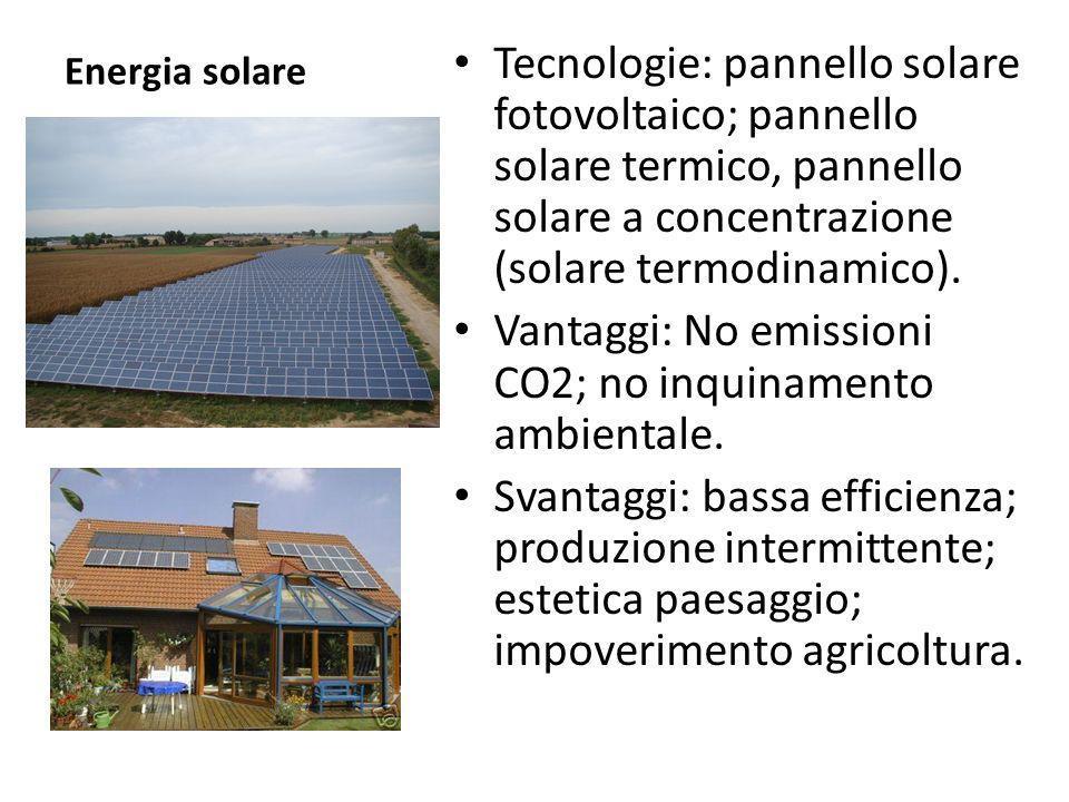 Vantaggi: No emissioni CO2; no inquinamento ambientale.