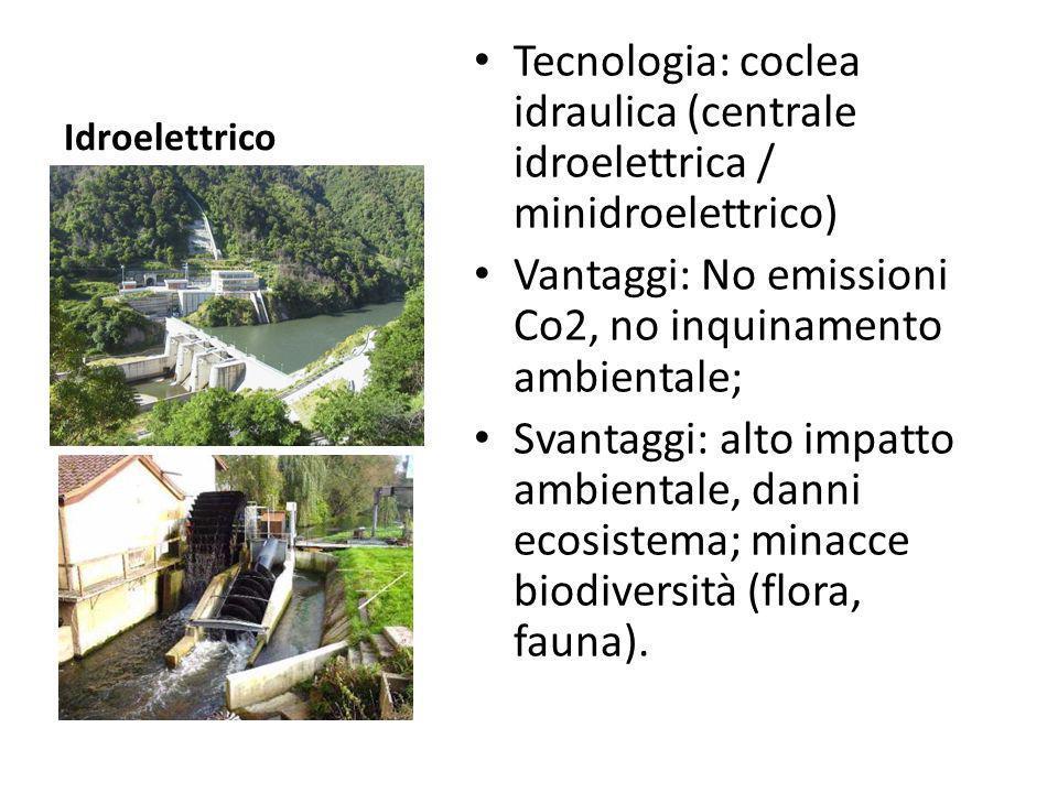 Vantaggi: No emissioni Co2, no inquinamento ambientale;