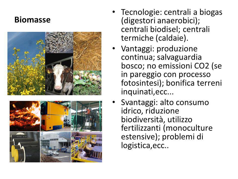 Biomasse Tecnologie: centrali a biogas (digestori anaerobici); centrali biodisel; centrali termiche (caldaie).