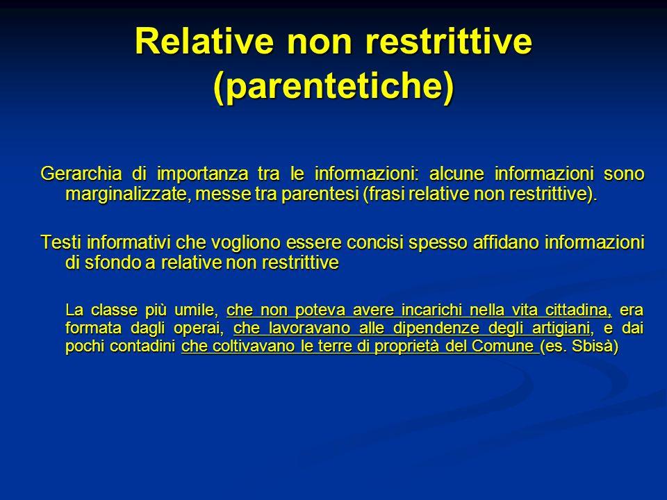 Relative non restrittive (parentetiche)