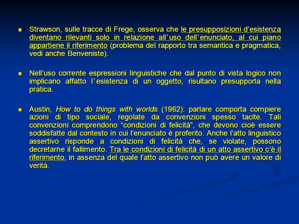 Strawson, sulle tracce di Frege, osserva che le presupposizioni d'esistenza diventano rilevanti solo in relazione all'uso dell'enunciato, al cui piano appartiene il riferimento (problema del rapporto tra semantica e pragmatica, vedi anche Benveniste).