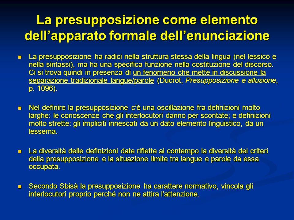 La presupposizione come elemento dell'apparato formale dell'enunciazione