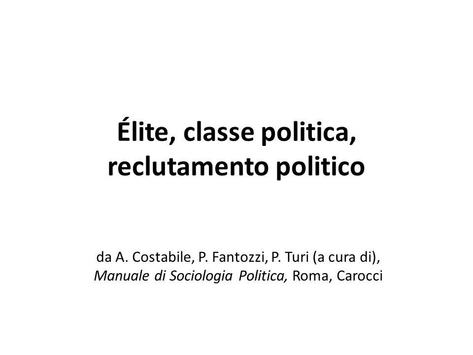 Élite, classe politica, reclutamento politico