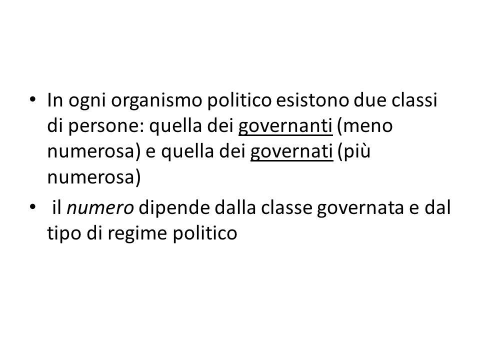 In ogni organismo politico esistono due classi di persone: quella dei governanti (meno numerosa) e quella dei governati (più numerosa)