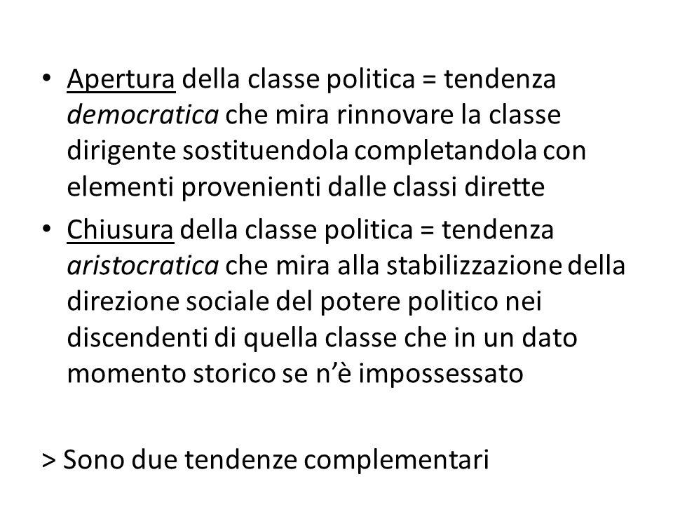 Apertura della classe politica = tendenza democratica che mira rinnovare la classe dirigente sostituendola completandola con elementi provenienti dalle classi dirette