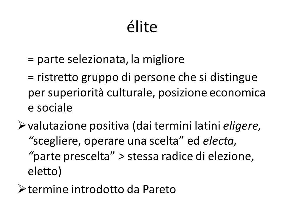 élite = parte selezionata, la migliore