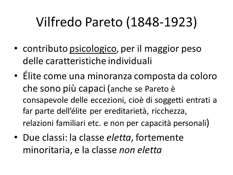 Vilfredo Pareto (1848-1923)contributo psicologico, per il maggior peso delle caratteristiche individuali.