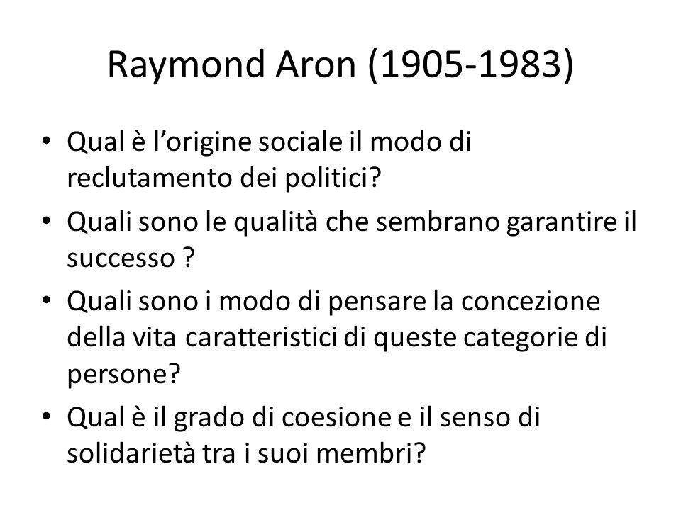 Raymond Aron (1905-1983) Qual è l'origine sociale il modo di reclutamento dei politici Quali sono le qualità che sembrano garantire il successo