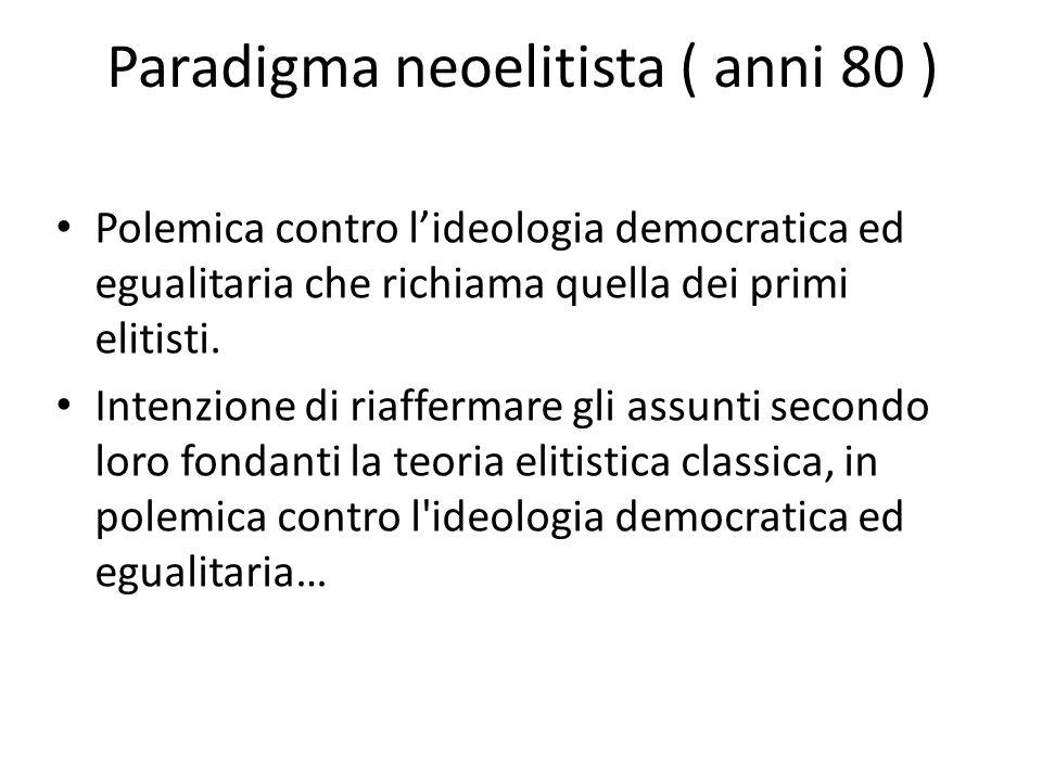 Paradigma neoelitista ( anni 80 )