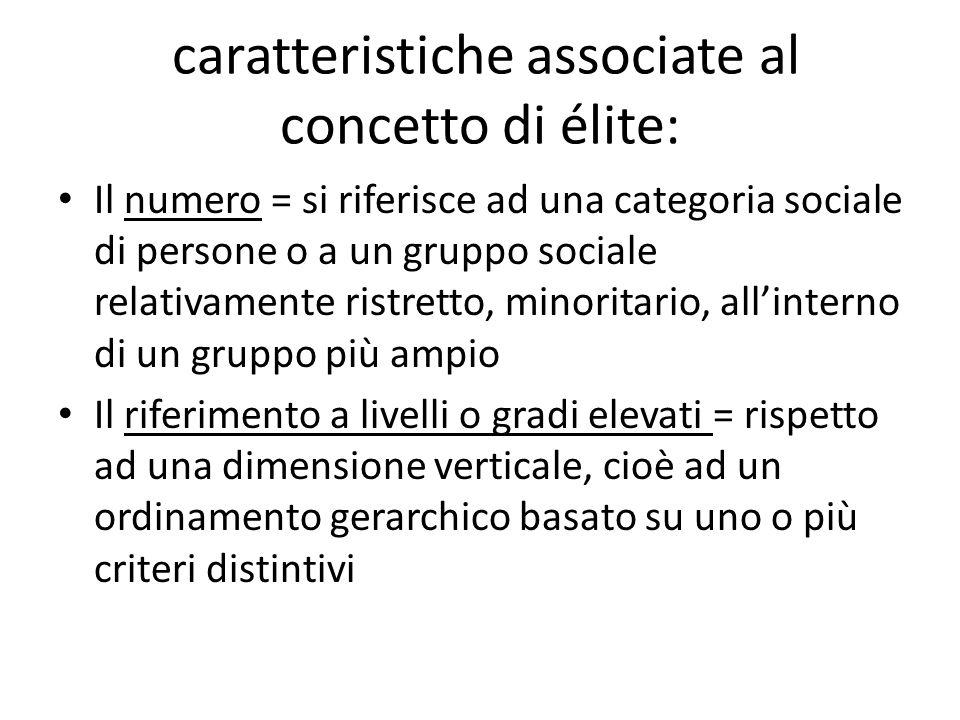caratteristiche associate al concetto di élite: