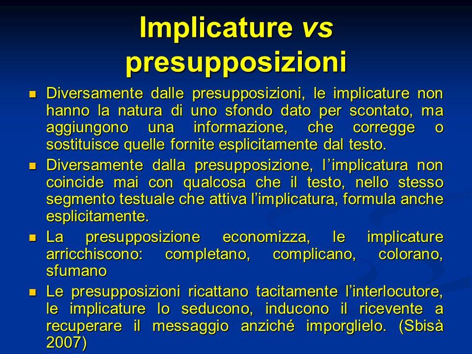 Implicature vs presupposizioni