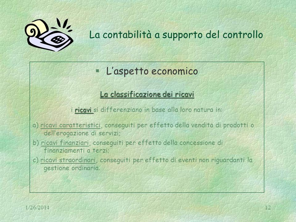 La contabilità a supporto del controllo