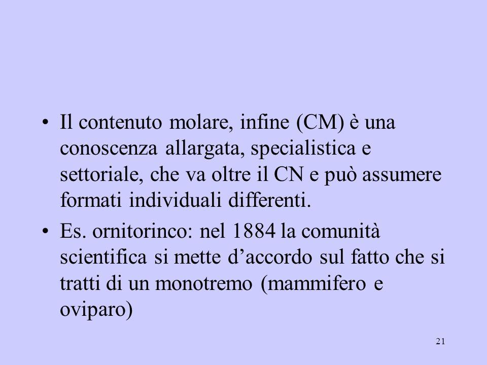 Il contenuto molare, infine (CM) è una conoscenza allargata, specialistica e settoriale, che va oltre il CN e può assumere formati individuali differenti.