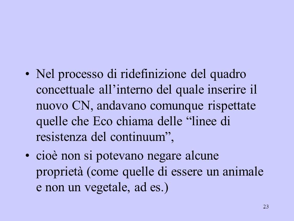 Nel processo di ridefinizione del quadro concettuale all'interno del quale inserire il nuovo CN, andavano comunque rispettate quelle che Eco chiama delle linee di resistenza del continuum ,