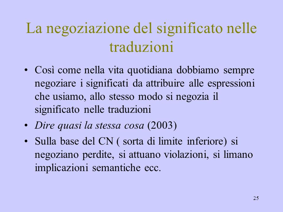 La negoziazione del significato nelle traduzioni