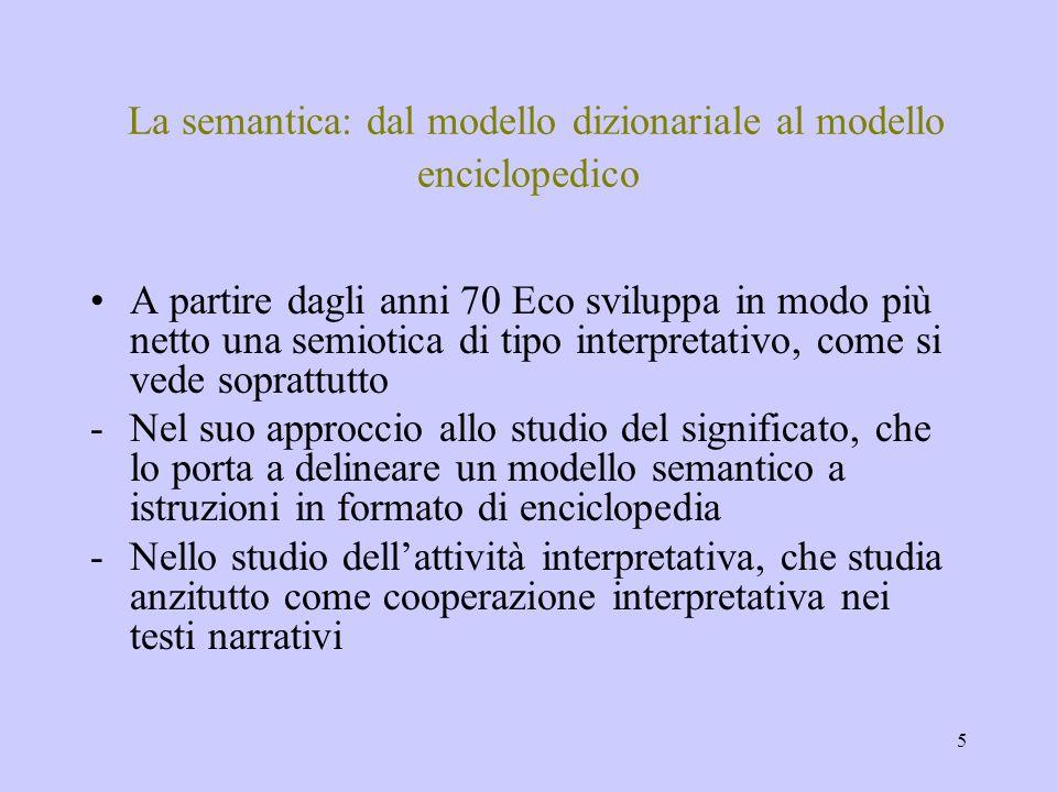 La semantica: dal modello dizionariale al modello enciclopedico