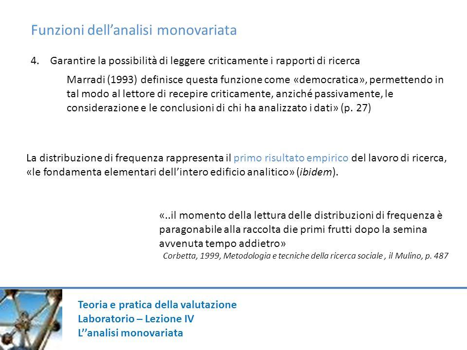 Funzioni dell'analisi monovariata