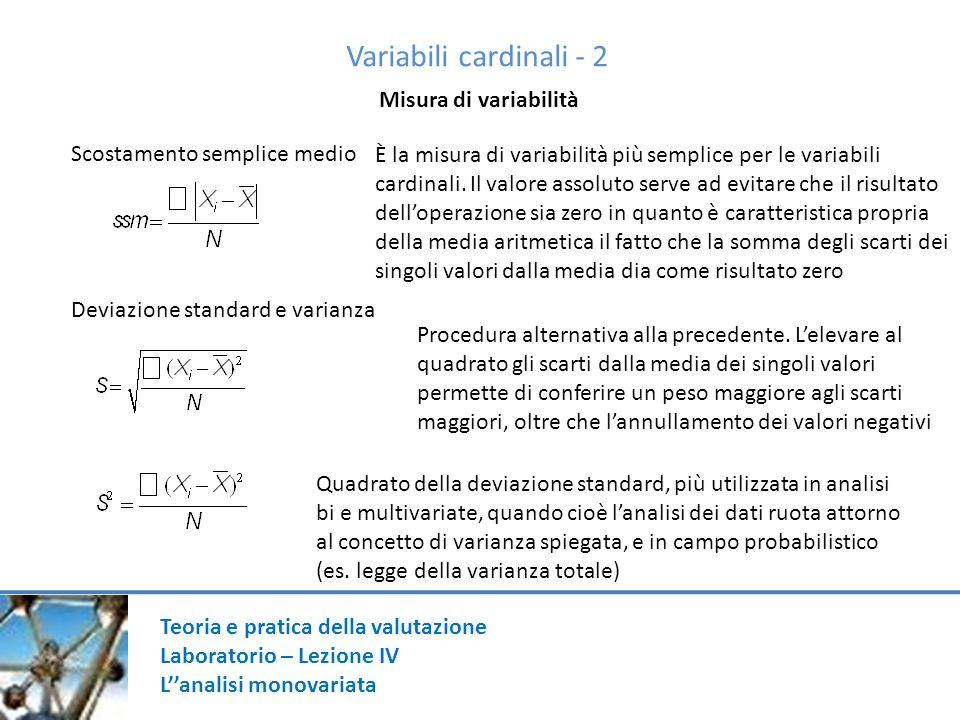 Variabili cardinali - 2 Misura di variabilità