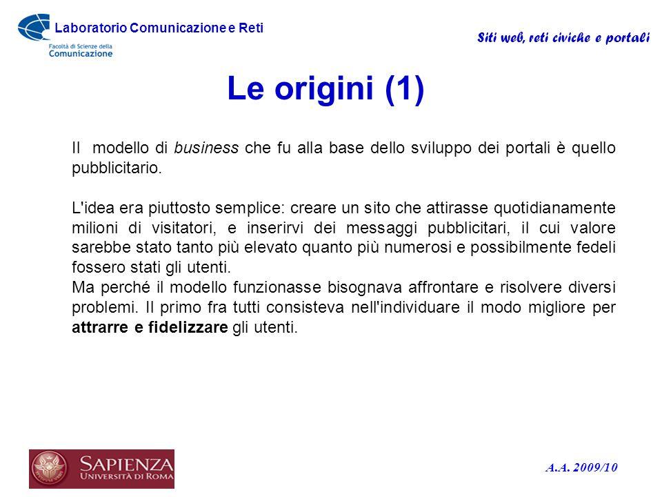 Le origini (1) Il modello di business che fu alla base dello sviluppo dei portali è quello pubblicitario.