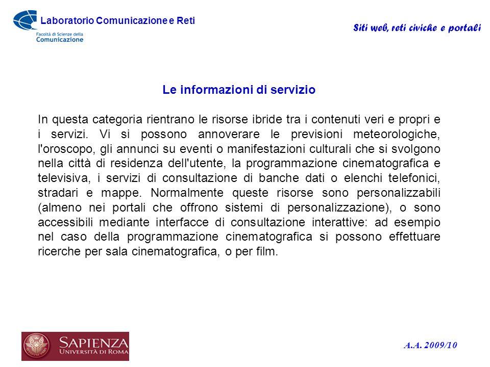 Le informazioni di servizio