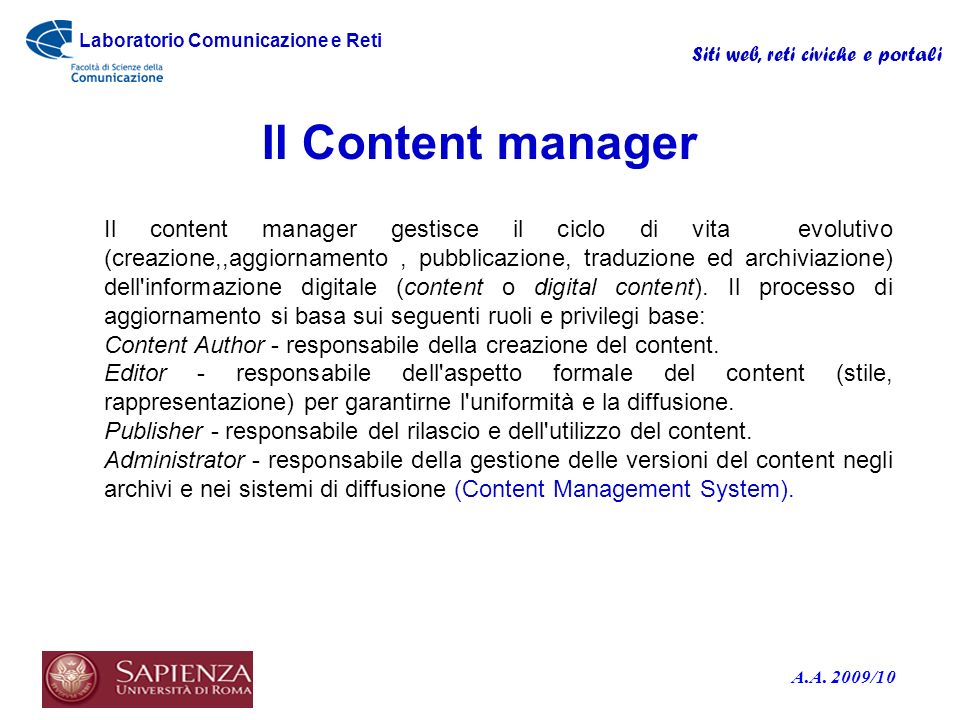 Il Content manager
