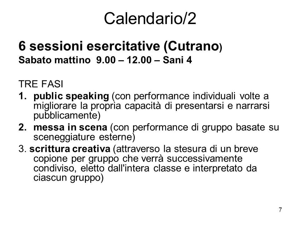 Calendario/2 6 sessioni esercitative (Cutrano)