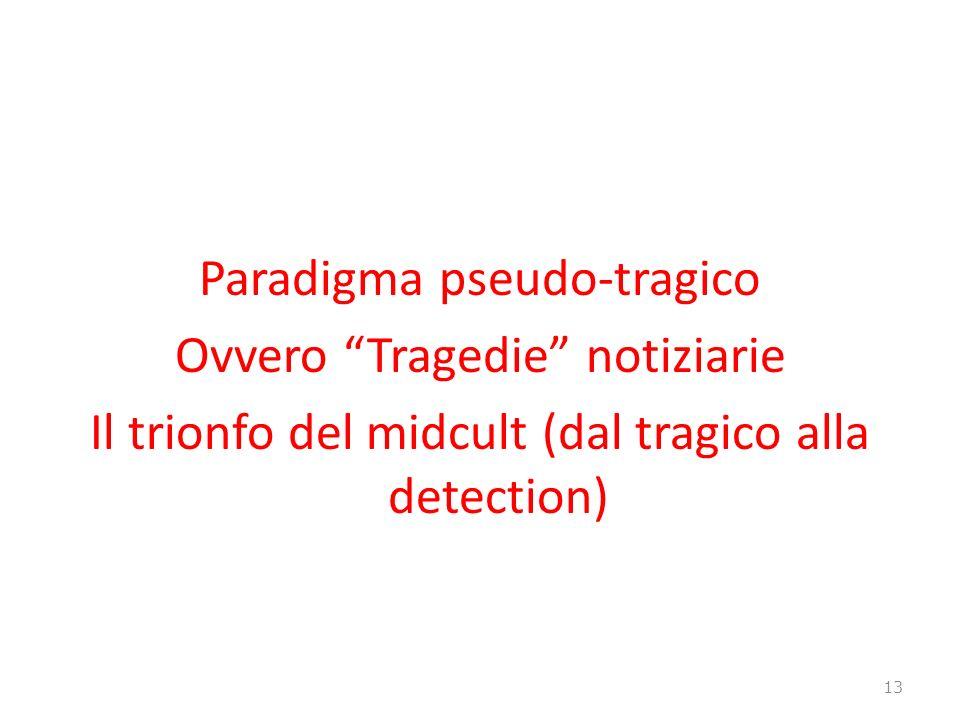 Paradigma pseudo-tragico Ovvero Tragedie notiziarie Il trionfo del midcult (dal tragico alla detection)