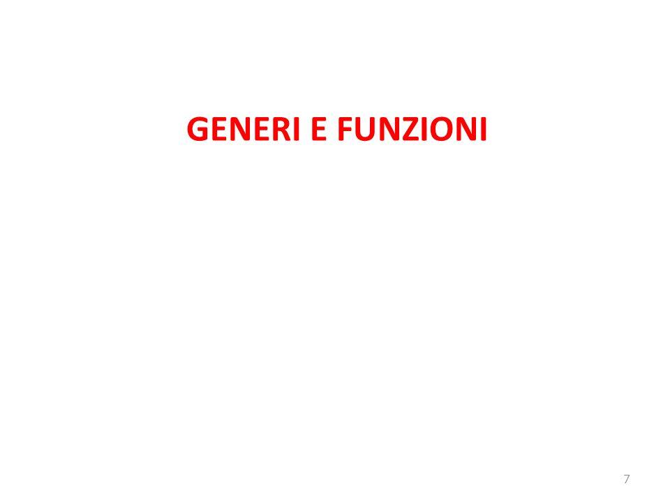 GENERI E FUNZIONI