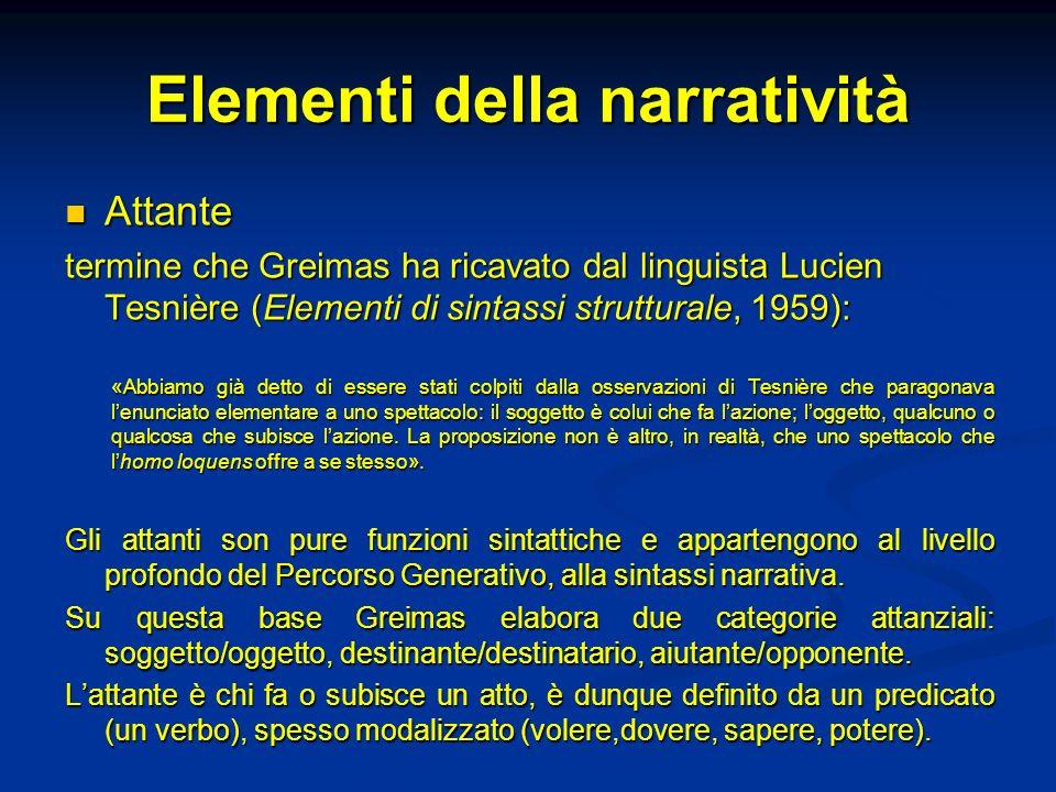 Elementi della narratività