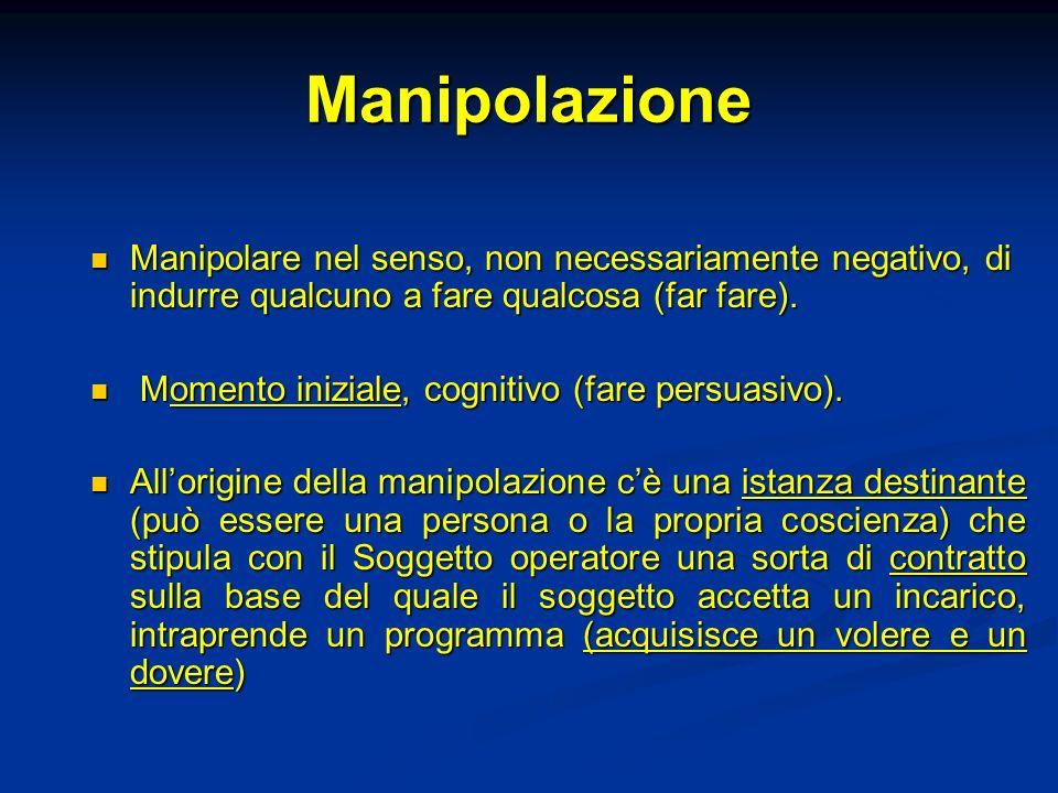 Manipolazione Manipolare nel senso, non necessariamente negativo, di indurre qualcuno a fare qualcosa (far fare).