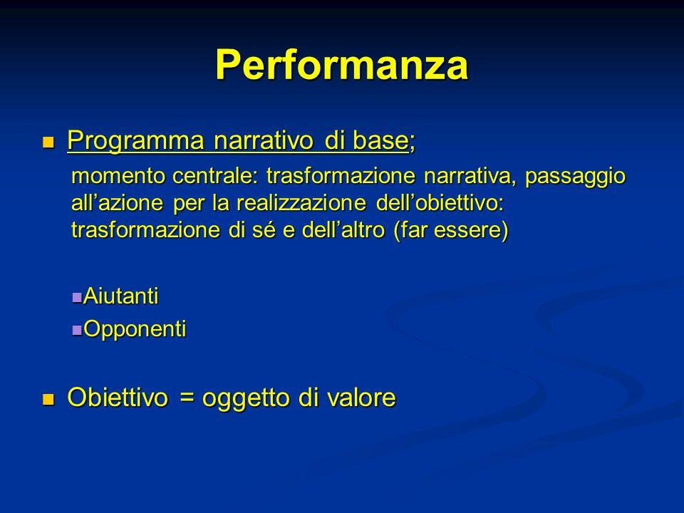Performanza Programma narrativo di base; Obiettivo = oggetto di valore