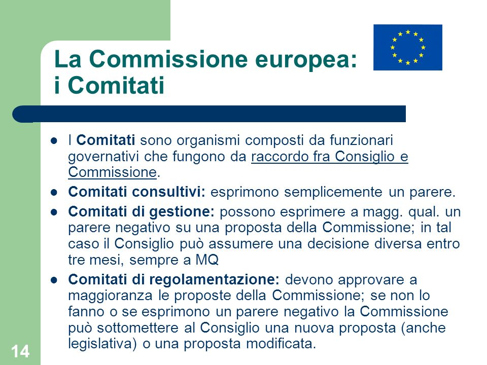La Commissione europea: i Comitati
