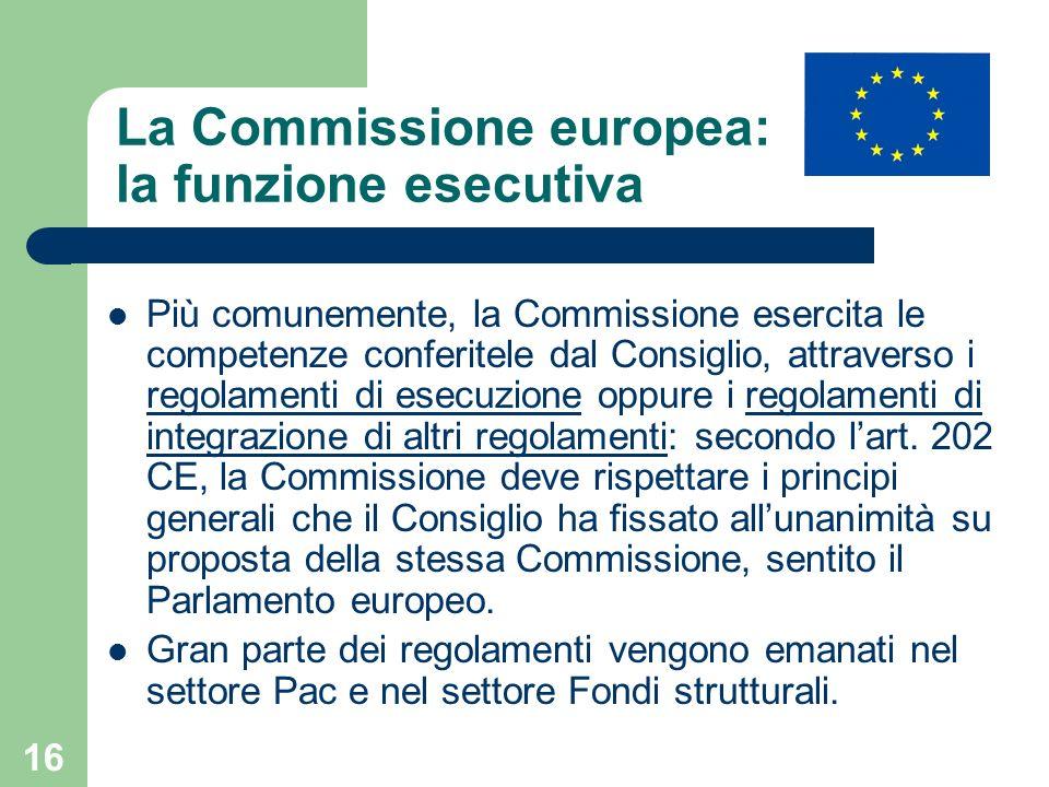 La Commissione europea: la funzione esecutiva
