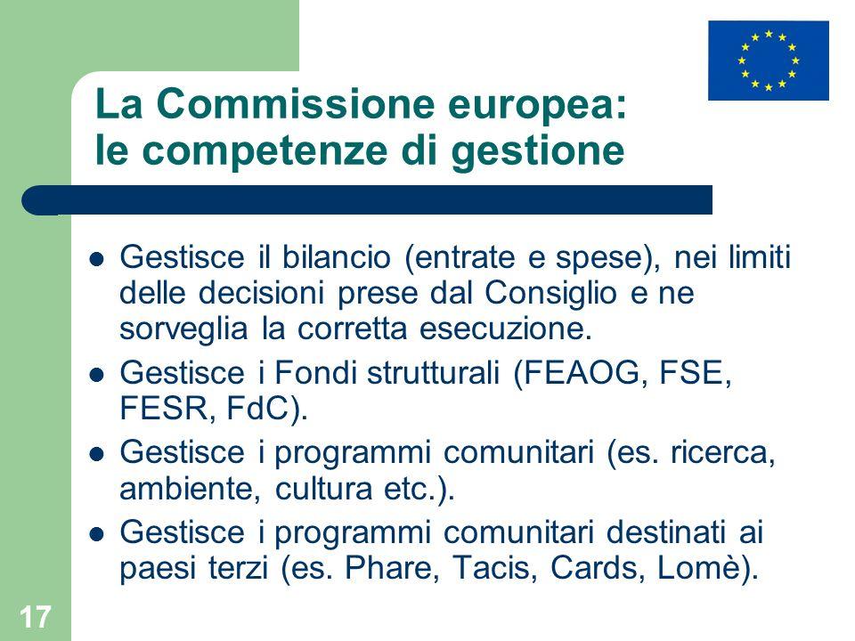 La Commissione europea: le competenze di gestione