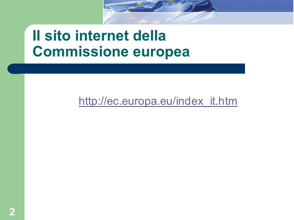 Il sito internet della Commissione europea