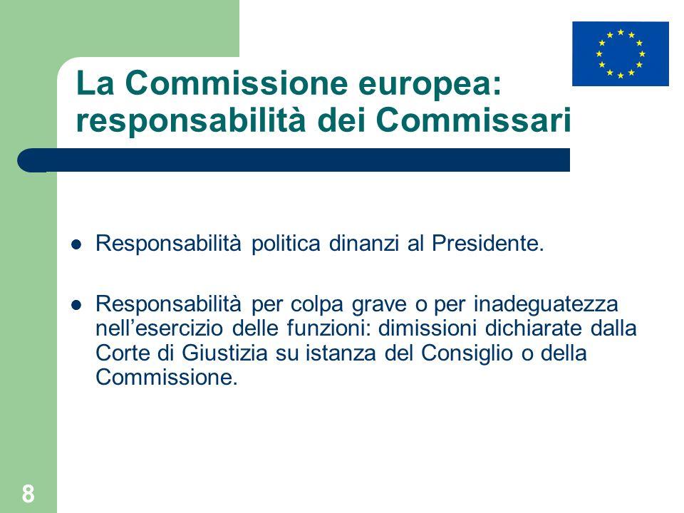 La Commissione europea: responsabilità dei Commissari