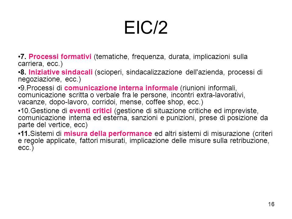 EIC/2 7. Processi formativi (tematiche, frequenza, durata, implicazioni sulla carriera, ecc.)