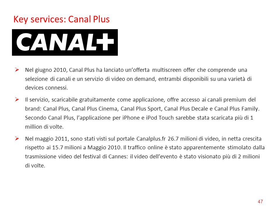 Key services: Canal Plus