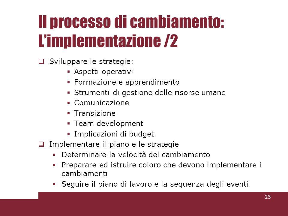 Il processo di cambiamento: L'implementazione /2