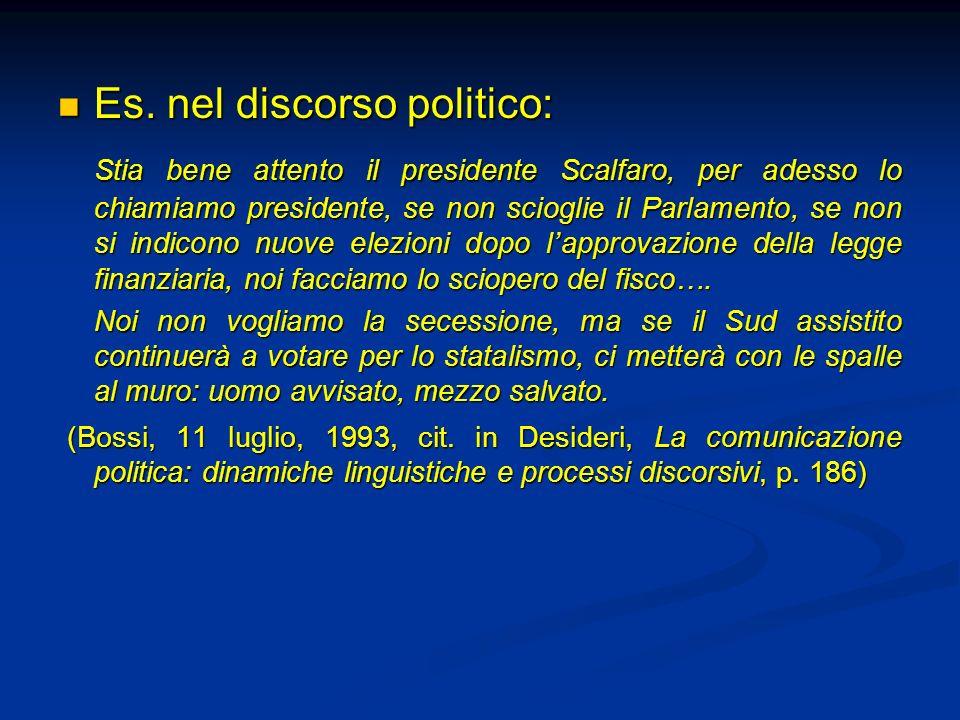 Es. nel discorso politico: