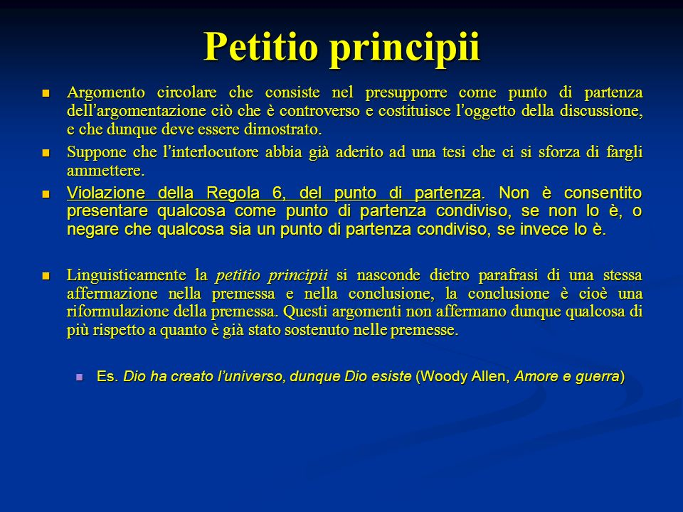 Petitio principii