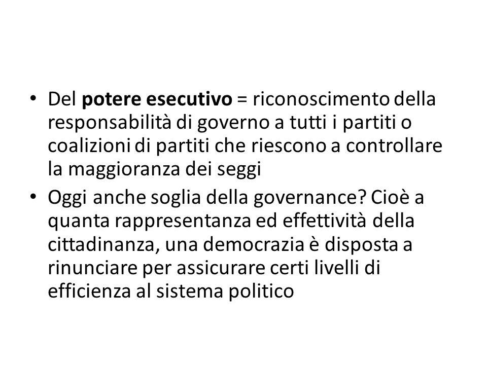 Del potere esecutivo = riconoscimento della responsabilità di governo a tutti i partiti o coalizioni di partiti che riescono a controllare la maggioranza dei seggi