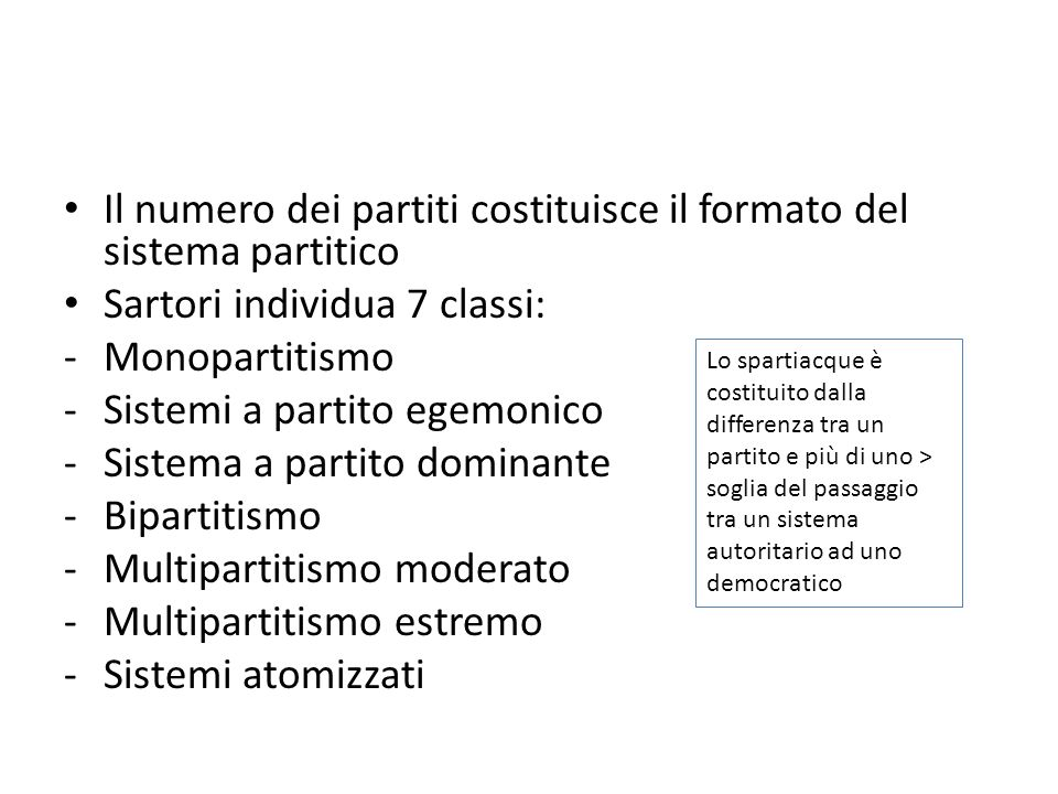 Il numero dei partiti costituisce il formato del sistema partitico