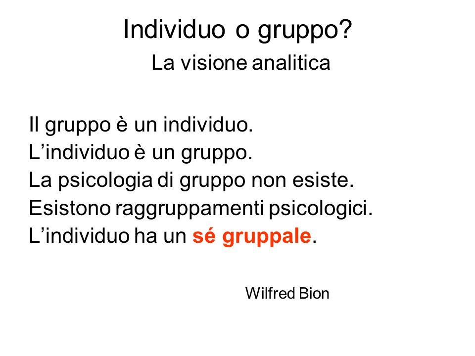 Individuo o gruppo La visione analitica