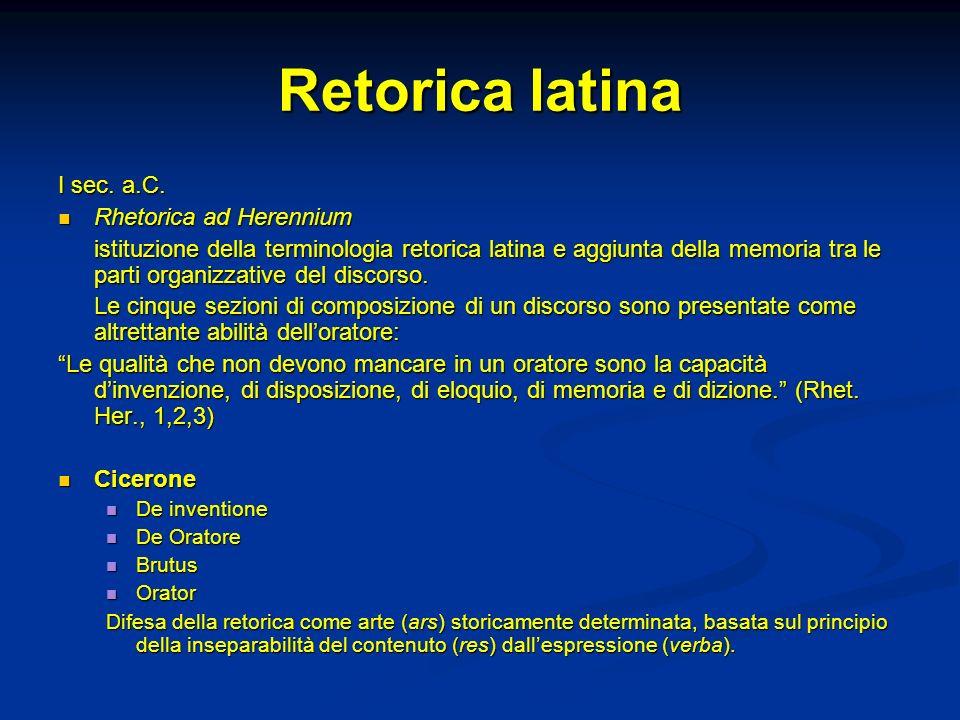 Retorica latina I sec. a.C. Rhetorica ad Herennium