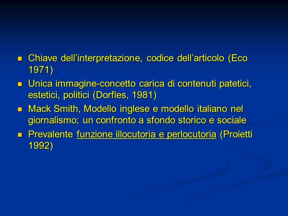Chiave dell'interpretazione, codice dell'articolo (Eco 1971)
