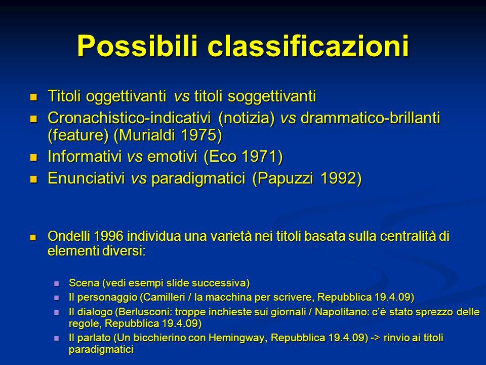Possibili classificazioni