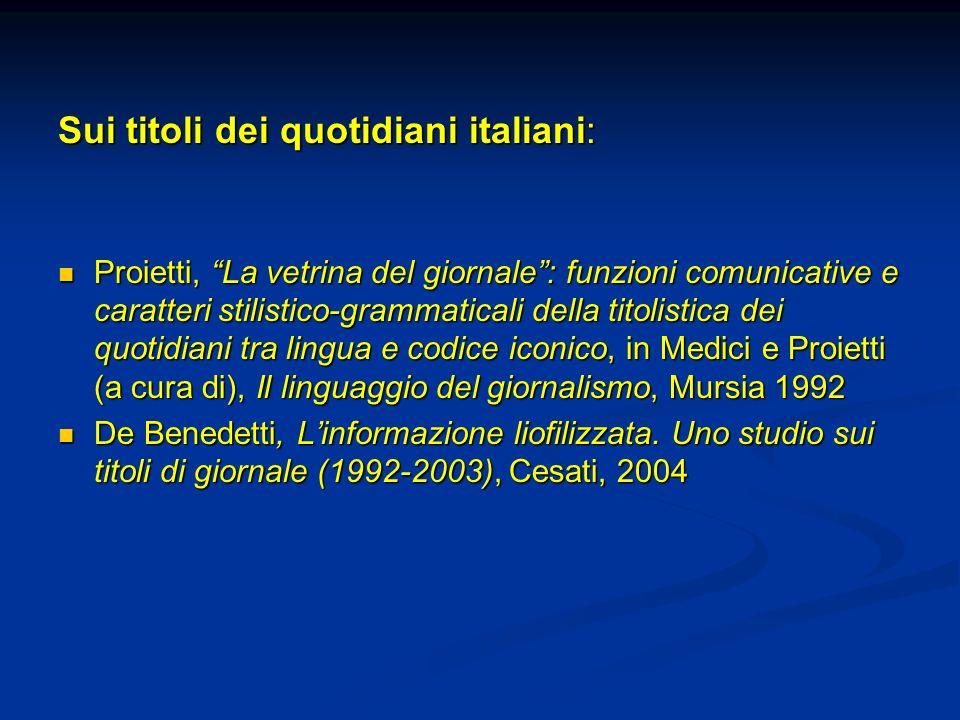 Sui titoli dei quotidiani italiani:
