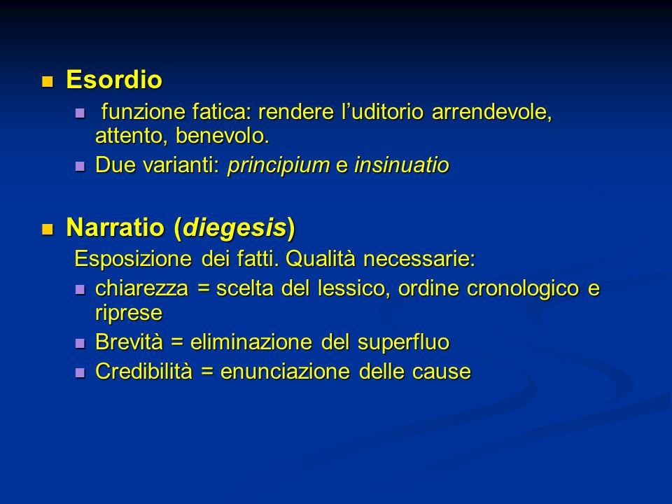 Esordio Narratio (diegesis)